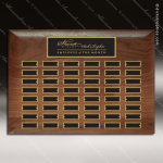 The Rabelo Walnut Perpetual Plaque  48 Black Plates Sponsor - Memorial - Donor Plaques