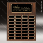 The Mozelek Laminate Walnut Perpetual Plaque  32 Black Plates Sponsor - Memorial - Donor Plaques