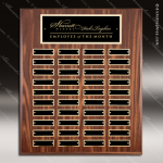 The Mozelak Laminate Walnut Perpetual Plaque  40 Black Plates Sponsor - Memorial - Donor Plaques