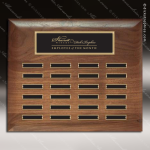 The Rabelo Walnut Perpetual Plaque  24 Black Plates Sponsor - Memorial - Donor Plaques