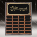 The Jessen Walnut Perpetual Plaque Step Edge  24 Black Plates Sponsor - Memorial - Donor Plaques