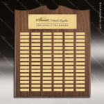 The Trenholm Walnut Arched Perpetual Plaque  96 Gold Plates Sponsor - Memorial - Donor Plaques