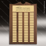 The Trenholm Walnut Arched Perpetual Plaque  72 Gold Plates Sponsor - Memorial - Donor Plaques