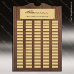 The Trenholm Walnut Arched Perpetual Plaque  80 Gold Plates Sponsor - Memorial - Donor Plaques