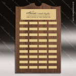 The Trenholm Walnut Arched Perpetual Plaque  36 Gold Plates Sponsor - Memorial - Donor Plaques