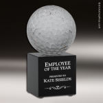 Glass Black Accented Golf Ball Engravable Trophy Award Sport Crystal Awards