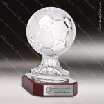 Crystal Sport Rosewood Accented Soccer Ball Trophy Award Sport Crystal Awards