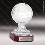 Crystal Sport Rosewood Accented Volleyball Trophy Award Sport Crystal Awards