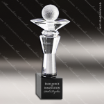Crystal Sport Black Accented Golf Trophy Award Sport Crystal Awards