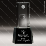 Crystal Sport Black Accented Golfer Trophy Award Sport Crystal Awards