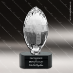 Crystal Sport Black Accented Football Trophy Award Sport Crystal Awards