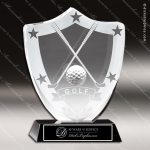 Crystal Sport Black Accented Golf Clubs and Stars Trophy Award Sport Crystal Awards