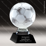 Crystal Sport Black Accented Soccerball Trophy Award Sport Crystal Awards