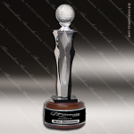 Crystal Sport Wood Accented Optic Par II Golf Tower Trophy Award Sport Crystal Awards
