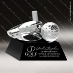 Crystal Sport Black Accented Driver And Golf Ball Trophy Award Sport Crystal Awards