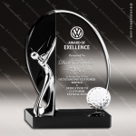 Crystal Sport Black Accented Golf Swing Trophy Award Sport Crystal Awards