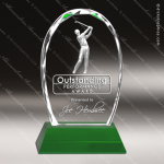 Crystal Sport Green Accented Golf 3-D Trophy Award Sport Crystal Awards