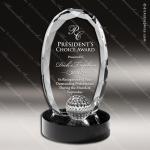 Crystal Sport Black Accented Golf Ball Trophy Award Sport Crystal Awards