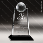 Crystal Sport Black Accented Golf Ball Apex Trophy Award Sport Crystal Awards