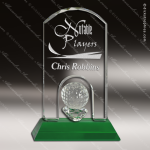 Crystal Sport Green Accented Golf Trophy Award Sport Crystal Awards