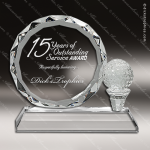Crystal  Sport Golf Ball Faceted Circle Trophy Award Sport Crystal Awards
