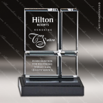 Crystal Black Accented Union Square Trophy Award Square Rectangle Shaped Crystal Awards
