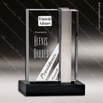 Crystal Black Accented Silver Shard Rectangle Trophy Award Square Rectangle Shaped Crystal Awards