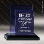 Crystal Blue Accented Azule Rectangle Trophy Award Square Rectangle Shaped Crystal Awards