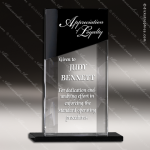 Crystal Black Accented Optic Honor Rectangle Trophy Award Square Rectangle Shaped Crystal Awards