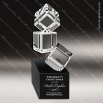 Crystal Black Accented Stacked Building Blocks Trophy Award Square Rectangle Shaped Crystal Awards