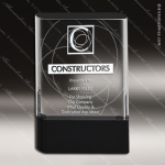 Crystal Black Accented Rectangle Granda Trophy Award Square Rectangle Shaped Crystal Awards
