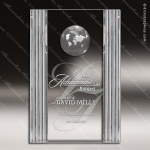 Crystal  Rectangle 3D World Globe Trophy Award Square Rectangle Shaped Crystal Awards