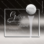 Crystal Sport Rectangle Billboard Golf Ball & Tee Trophy Award Square Rectangle Shaped Crystal Awards