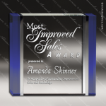 Crystal Blue Accented Square Trophy Award Square Rectangle Shaped Crystal Awards