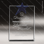 Crystal Blue Accented Star Rectangle Trophy Award Square Rectangle Shaped Crystal Awards