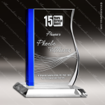 Crystal Blue Accented Rectangle Progress Trophy Award Square Rectangle Shaped Crystal Awards