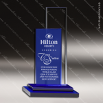 Crystal Blue Accented City Style Rectangle Tower Trophy Award Square Rectangle Shaped Crystal Awards