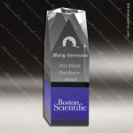 Crystal Blue Accented Angled Building Trophy Award Square Rectangle Shaped Crystal Awards