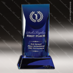 Crystal Blue Accented Patina Trophy Award Square Rectangle Shaped Crystal Awards