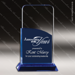 Crystal Blue Accented Mid Night Trophy Award Square Rectangle Shaped Crystal Awards