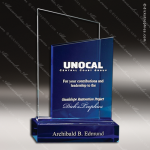 Crystal Blue Accented Bliss Trophy Award Square Rectangle Shaped Crystal Awards