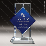 Crystal Blue Accented Bold Trophy Award Square Rectangle Shaped Crystal Awards