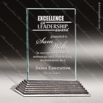 Glass Silver Accented Rectangle City Hall II Trophy Award Square Rectangle Shaped Glass Awards