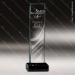 Glass Black Accented Rectangle Comet Trophy Award Square Rectangle Shaped Glass Awards