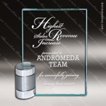 Glass Silver Accented Rectangle Cornerstone Trophy Award Square Rectangle Shaped Glass Awards
