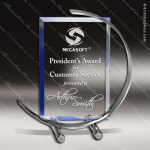 Glass Blue Accented Rectangle C-Note Trophy Award Square Rectangle Shaped Glass Awards