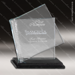 Glass Black Accented Rectangle Reflective Pages Trophy Award Square Rectangle Shaped Glass Awards