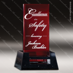 Glass Red Accented Rectangle Regencia Trophy Award Square Rectangle Shaped Glass Awards