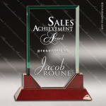 Jackson Rectangle Glass Rosewood Accented Trophy Award Square Rectangle Shaped Glass Awards