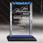 Javelin Glass Blue Accented Rectangle Premier Edge Trophy Award Square Rectangle Shaped Glass Awards
